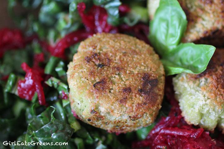 vegan fried cashew goat cheese kale salad