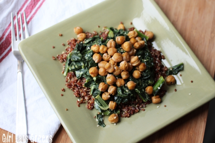 Coconut Curry Creamed Kale with Quinoa and Crispy Chickpeas Gluten Free Vegetarian Vegan Girl Eats Greens_0024
