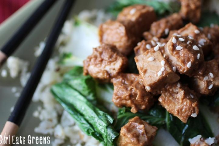 Ginger Peanut Tofu Cauliflower Rice Gluten Free Vegetarian Vegan Girl Eats Greens_0023