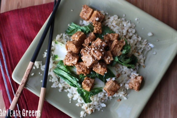 Ginger Peanut Tofu Cauliflower Rice Gluten Free Vegetarian Vegan Girl Eats Greens_0024